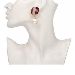 Jewelry - Beautiful Faux Pearls DEEP RED Enamel Earrings